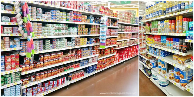 A grocery store isle with products on the shelves.