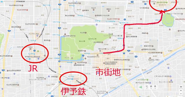 松山市のMAP