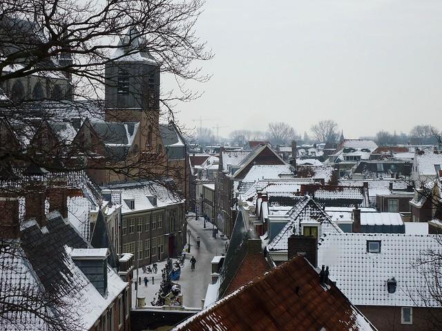Leiden with snow