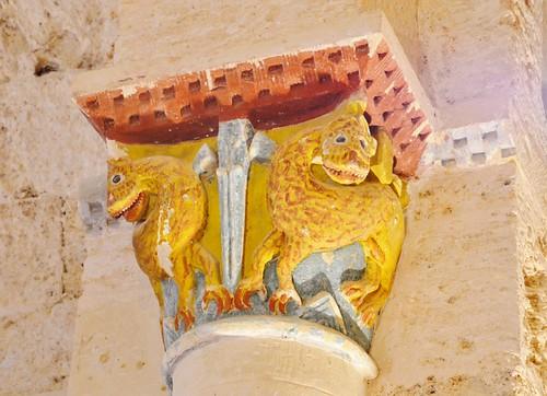 Abajas (Burgos). Iglesia de Nuestra Señora. Capitel del arco triunfal
