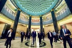 U.S. Secretary of State John Kerry walks through the U.S. Custom House in Philadelphia, Pa., after greeting employees at a Passport Agency Office after delivering a speech on September 2, 2015, about the Iranian nuclear deal at the nearby National Constitution Center. [State Department photo/ Public Domain]