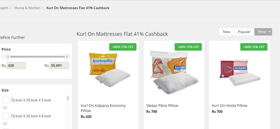 paytm kurlon matress flat 41% cashback offer
