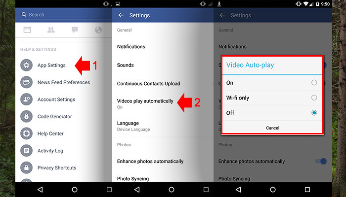 Turn Off autoplay video on Facebook using Android devices