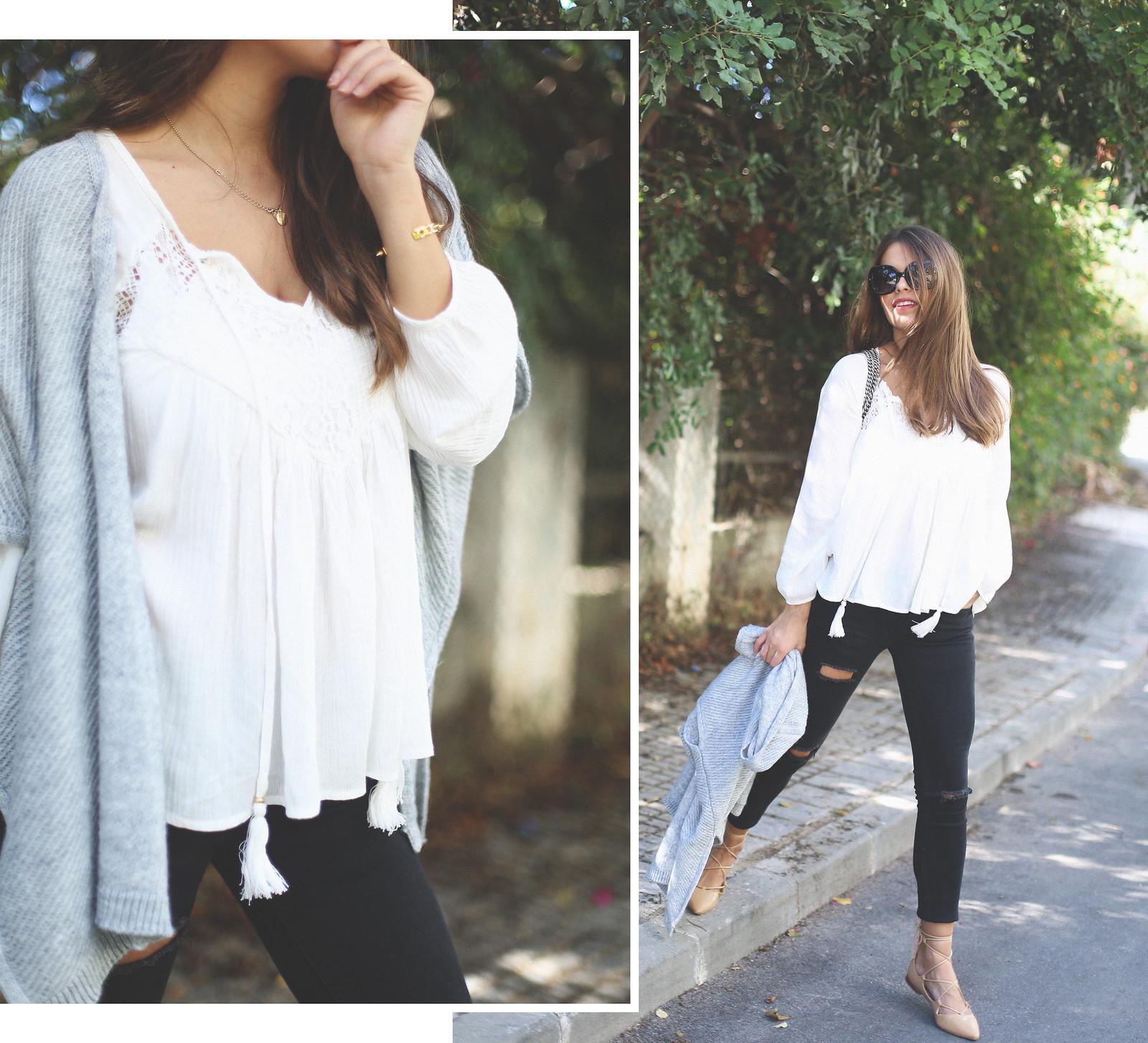 1. jessie chanes - grey poncho white boho blouse