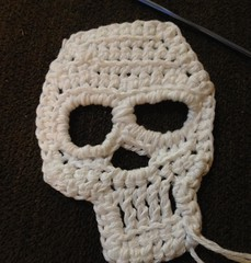 He's not lopsided, he's grinning. #crochet #skull