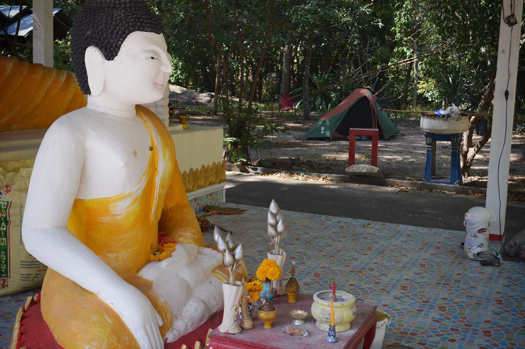 Camping at a temple in Thailand