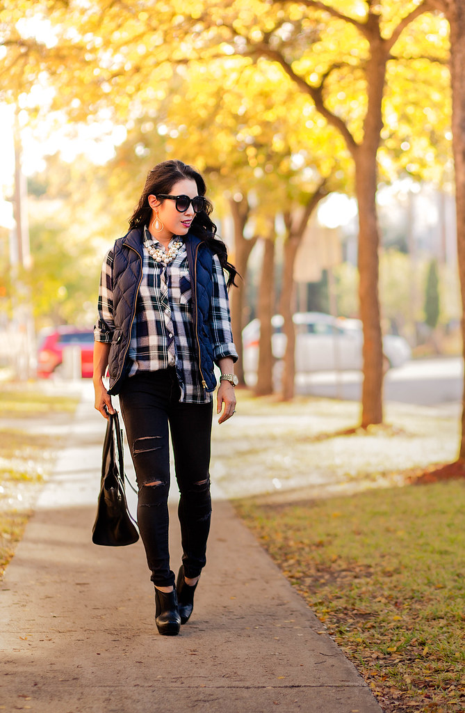 cute & little blog | petite fashion | plaid shirt, navy puffer quilted vest, black distressed jeans, black booties, celine, pearl necklace | fall outfit