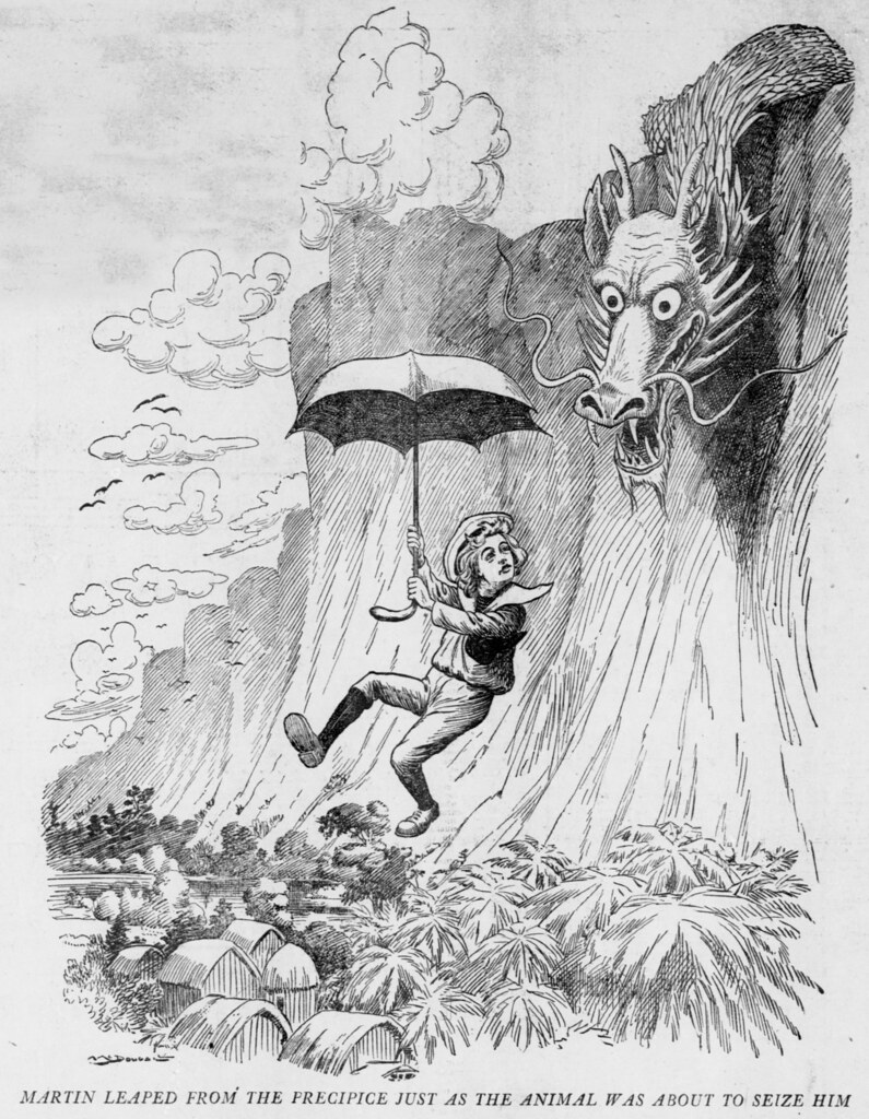 Walt McDougall - The Salt Lake herald., April 19, 1903, Martin Leaped From The Precipice Just As The Animal Was About To Seize Him