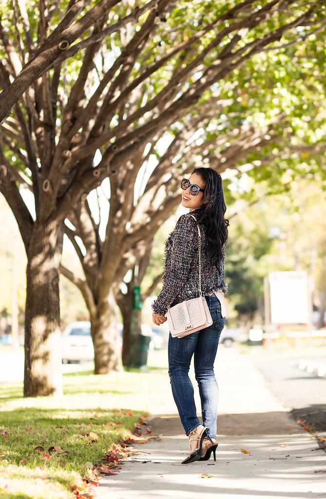 cute & little blog   tweed jacket, pink blouse, minkoff pink love crossbody, citizen racer jeans, kendra scott rayne goldstone   fall outfit