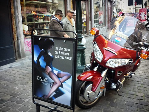 'Toys for the boys' - #Brussels #Belgium #street #photography #streetphotography #Honda #Goldwing #motorbike #motorcycle #lingerie #toys