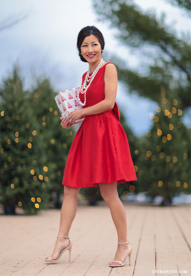 red fit flare bow dress christmas