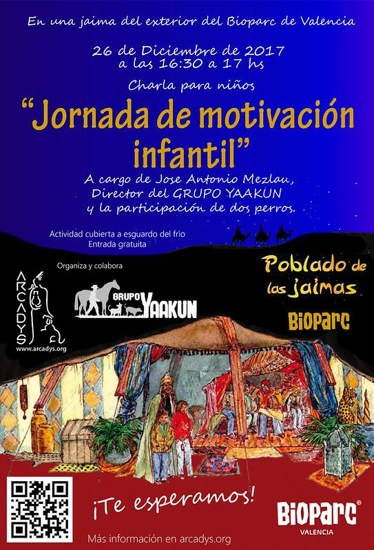 Cartel de la charla de Motivación infantil en las jaimas del Bioparc