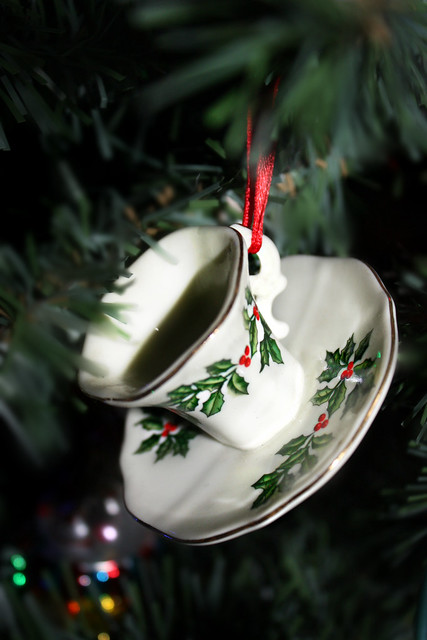 Lenox Vintage CUP & SAUCER Christmas Ornament