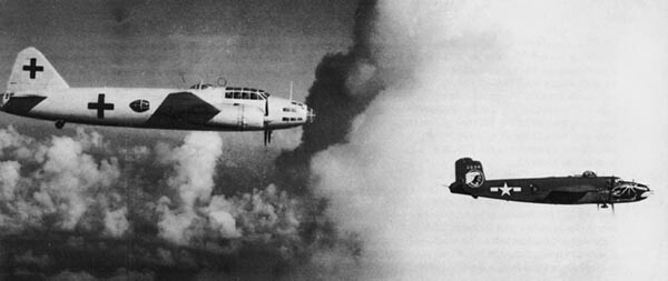 345th Bomb Group B-25 escorts a Japanese Betty bomber back to Japan