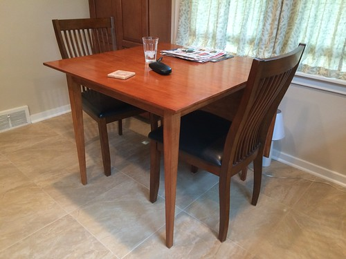 New kitchen table, leaf down