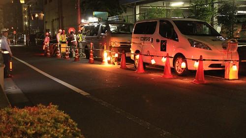 日本コムシスさま e-NV200パワープラグ活用 夜間工事