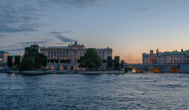 Sunset over Stockholm parliament building