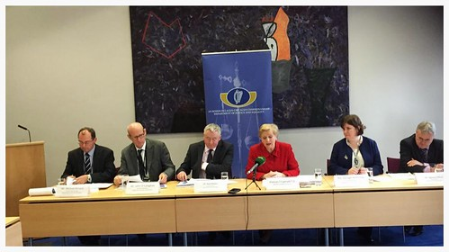Budget 2016 Briefing on Justice measures (L-R) Michael Kirrane, John O'Callaghan, Noel Waters, Minister Frances Fitzgerald, Oonagh McPhillips and Seamus Clifford