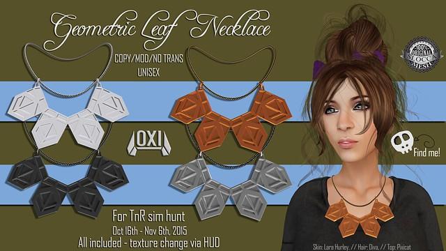Geometric Leaf Necklace for TnR Hunt