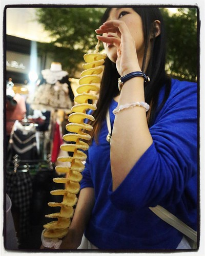 A Myeongdong tourist delicacy: What I like to call The Potatornado.