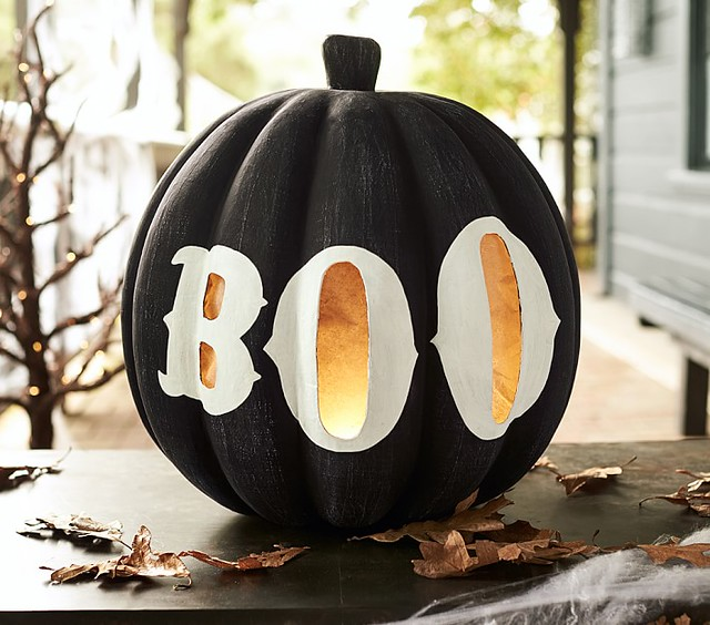 Large Black Pumpkin with Boo Luminary