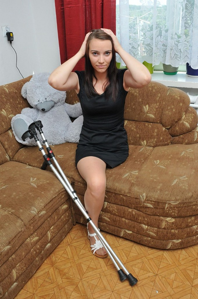 Crutches and pantyhose