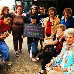 Graduating class - of the first Highland high school - Together again!!  These ladies #HFASA found on a park bench, and their story was great:  after many decades of absence and distance, they returned to San Antonio for a reunion, and told us all about i