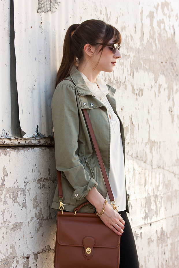 Green Utility Jacket, Fall Outfit, Coach Crossbody Bag