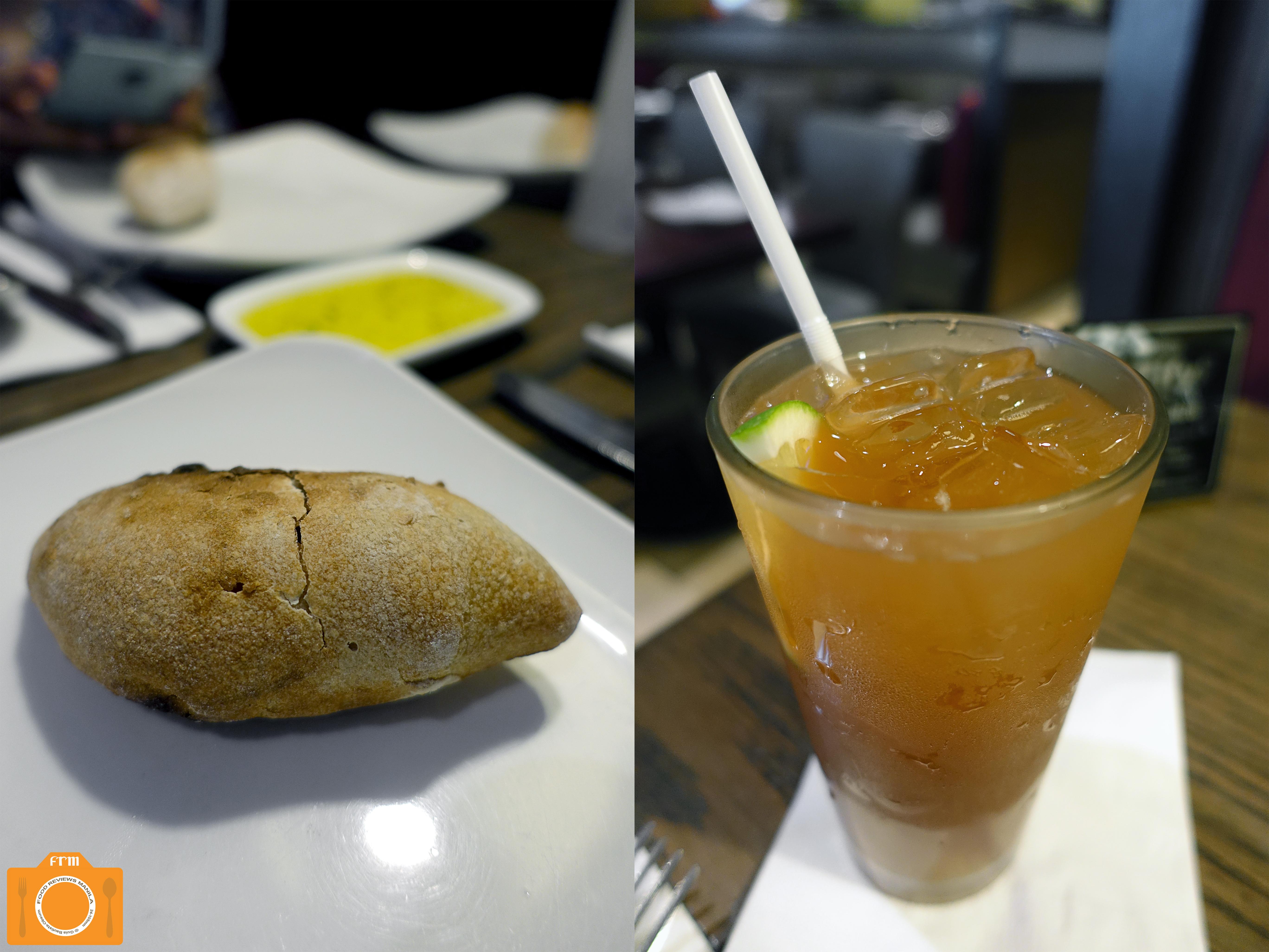 Village Tavern bread and iced tea