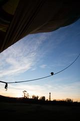 Hot air balloon floating upwards