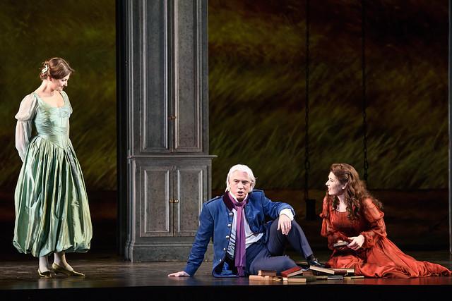 Oksana Volkova as Olga, Dmitri Hvorostovsky as Eugene Onegin, Nicole Car as Tatyana in Kasper Holten's Eugene Onegin © Photograph by Bill Cooper, ROH 2015