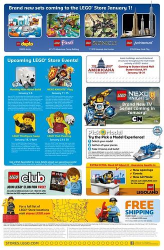 January 2016 LEGO Store Calendar