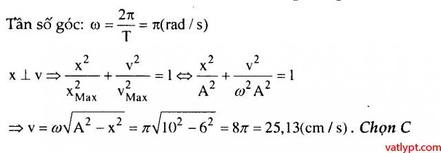 Bài tập liên hệ giữa li độ, vận tốc, gia tốc trong dao động điều hòa