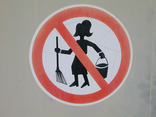 No entry for big-haired cleaning ladies