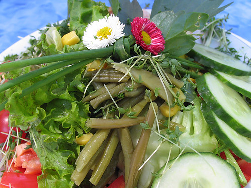 summer salad with daisies