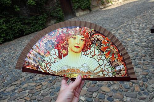 Mucha folding fan