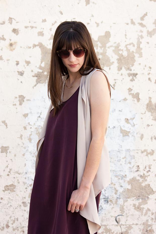 Everlane Dress, Neutral Vest, Sunglasses