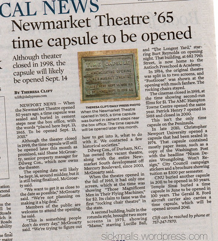 Newmarket Theater '65 time capsule to be opened.