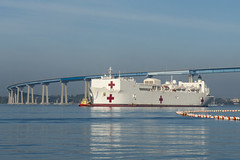 USNS Mercy (T-AH 19) transits San Diego Bay on Sunday. (U.S. Navy/MC3 Eric Coffer)