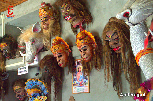 Different characters masks Hindu mythology  Shamagauri Satra Majuli
