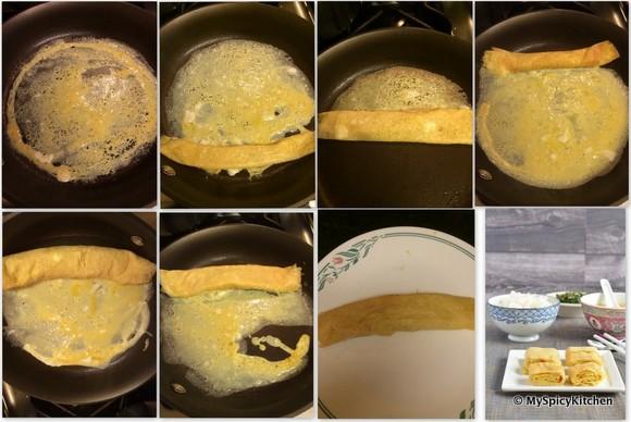 Collage of Tamagoyaki preparation