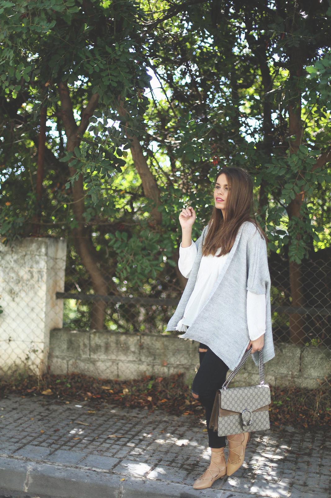 6. jessie chanes - grey poncho white boho blouse