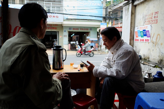 Drink morning coffee in Dalat city