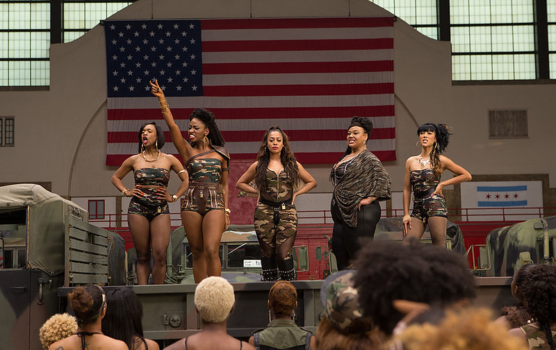 Teyonah Parris (second from left) leads the cause as Lysistrata in CHI-RAQ.