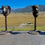 Sculptures of zodiac signs made by Chinese artist Ai Wei Wei, on exibition at the National Museum of Wildlife Art at the National Elk Refuge outside Jackson Hole, Wyoming, USA