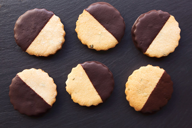 Dark Chocolate-Dipped Grain-free Rosemary Shortbread Cookies