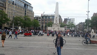 Image of Dam Square near Amsterdam. amsterdam netherlands holland nederland centrum dutch iamsterdam schiphol europe grotemarkt canals westerkerk nationaalmonument nationalmonument dam damsquare royalpalace madametussauds buildings edificios structures estructuras arquitectura architecture historic city urban people monument travel