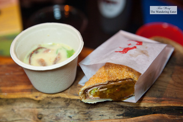 Coconut curry based soup with pork and pastrami egg roll with tamarind sauce by Chef Nicole Gajadhar of Saxon+Parole