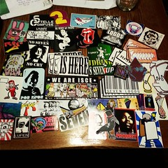 #seven stickers from Madrid, Espana