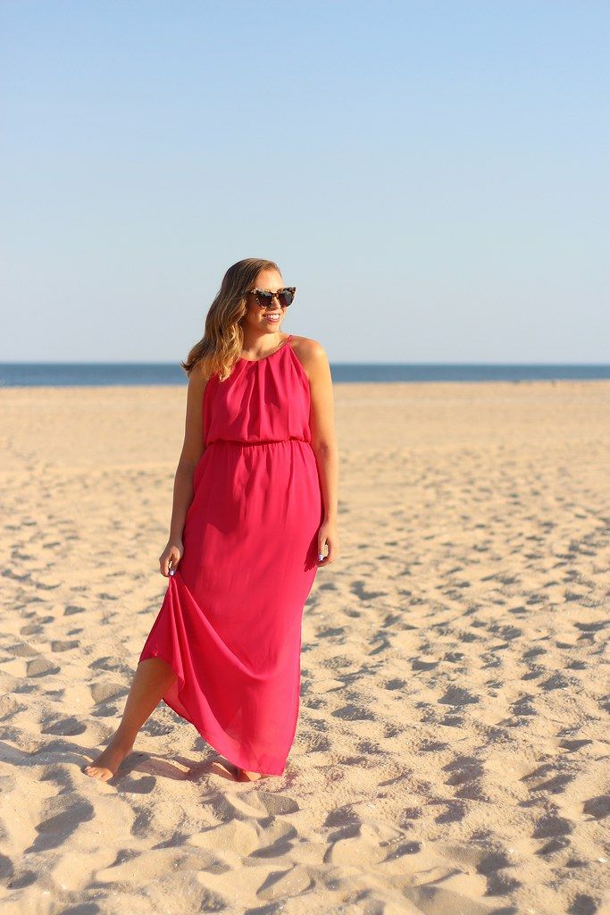 Pink Maxi Dress on Beach